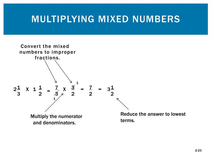 Convert the mixed numbers to improper