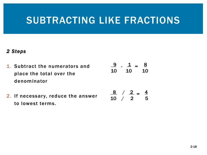 Subtracting Like Fractions