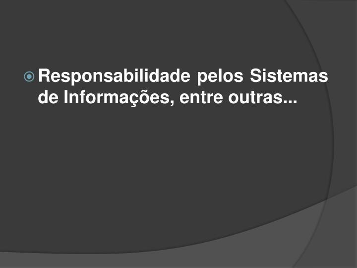 Responsabilidade pelos Sistemas de Informações, entre outras...