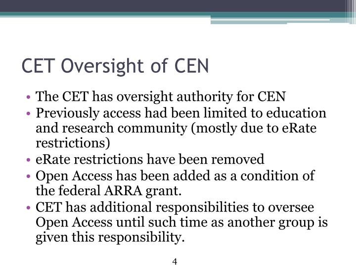 CET Oversight of CEN