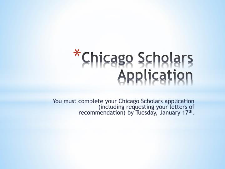 Chicago scholars application
