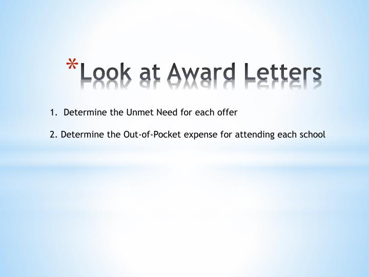 Look at Award Letters