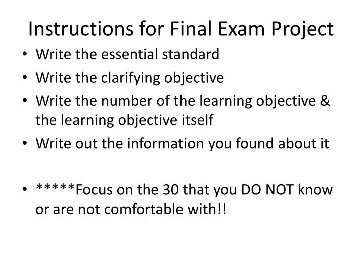 Instructions for final exam project