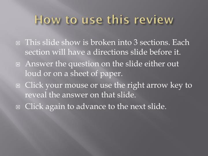 How to use this review