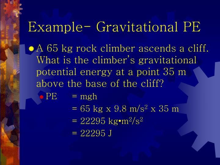 Example- Gravitational PE