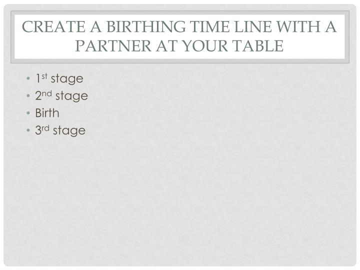 Create a birthing time line with a partner at your table