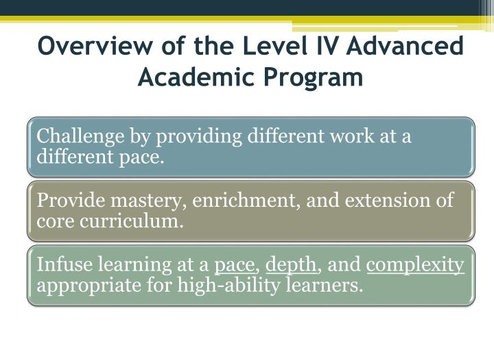 Overview of the Level IV Advanced Academic Program