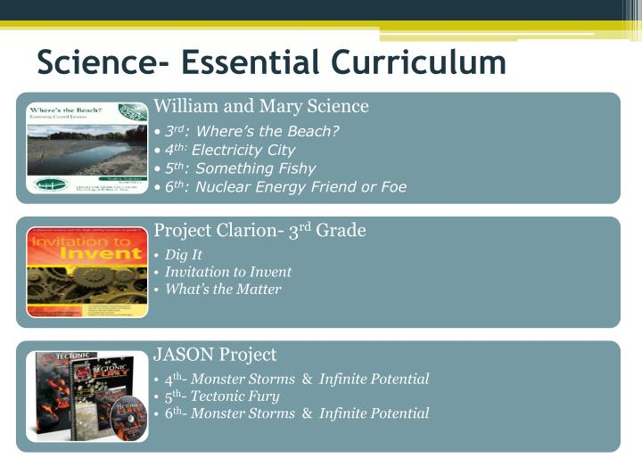 Science- Essential Curriculum