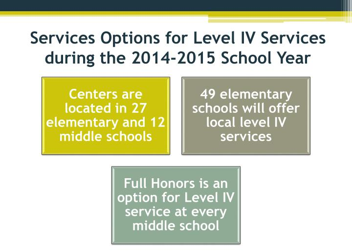 Services Options for Level IV Services during the 2014-2015 School Year