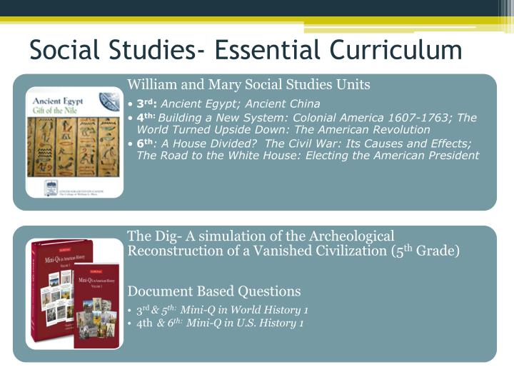 Social Studies- Essential Curriculum