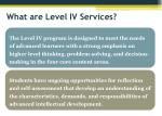 what are level iv services