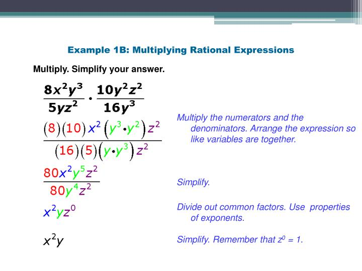 Example 1B: Multiplying Rational Expressions