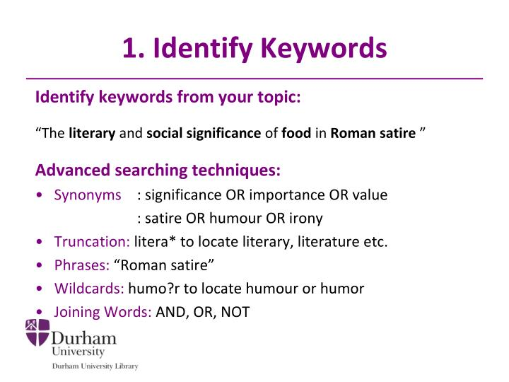 1. Identify Keywords