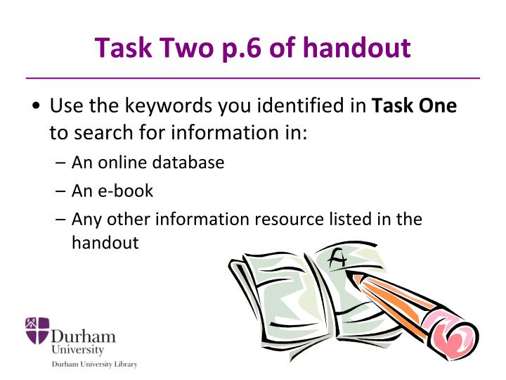 Task Two p.6 of handout