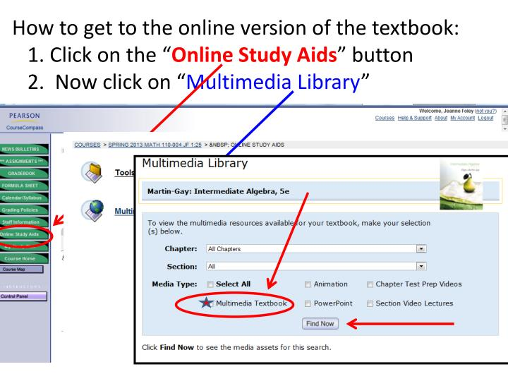 How to get to the online version of the textbook:
