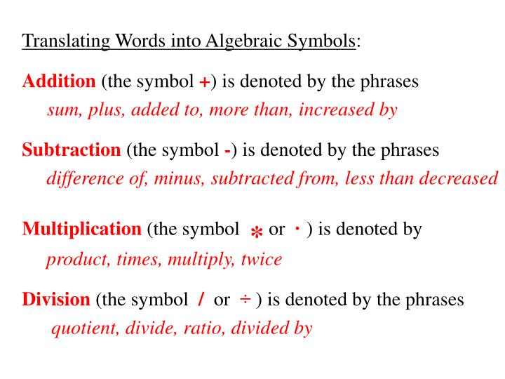 Translating Words into Algebraic Symbols