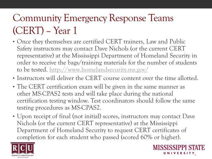 Community Emergency Response Teams (CERT) – Year 1