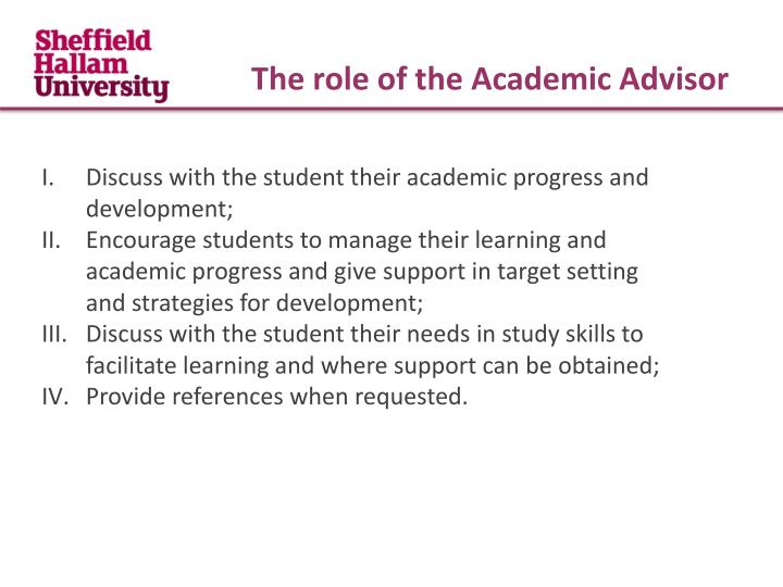 The role of the Academic Advisor