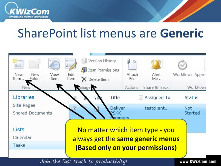 SharePoint list menus are