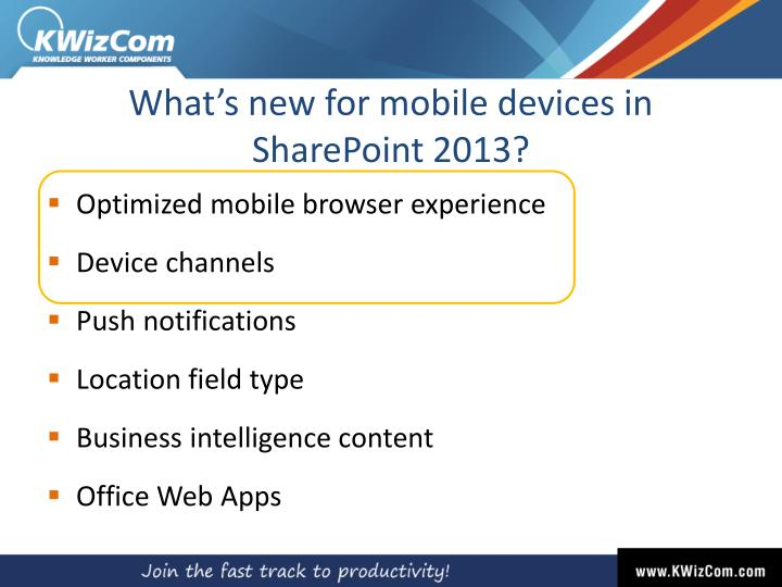 What's new for mobile devices in SharePoint 2013?