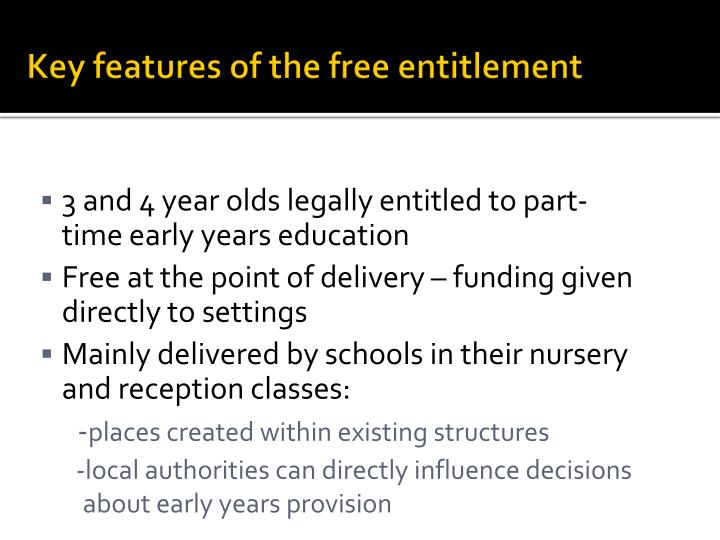 Key features of the free entitlement
