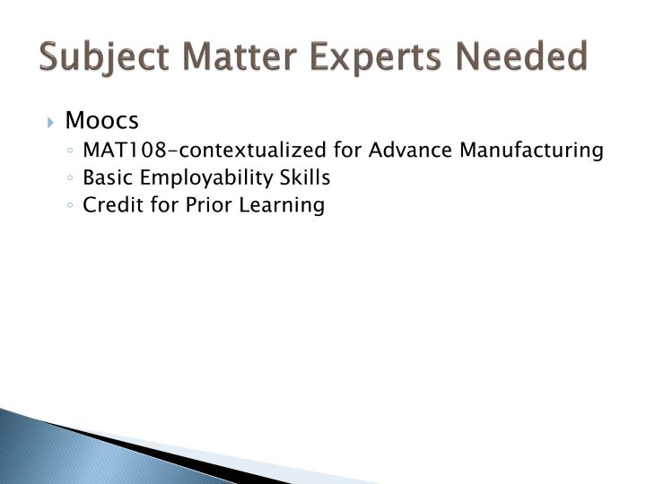Subject Matter Experts Needed
