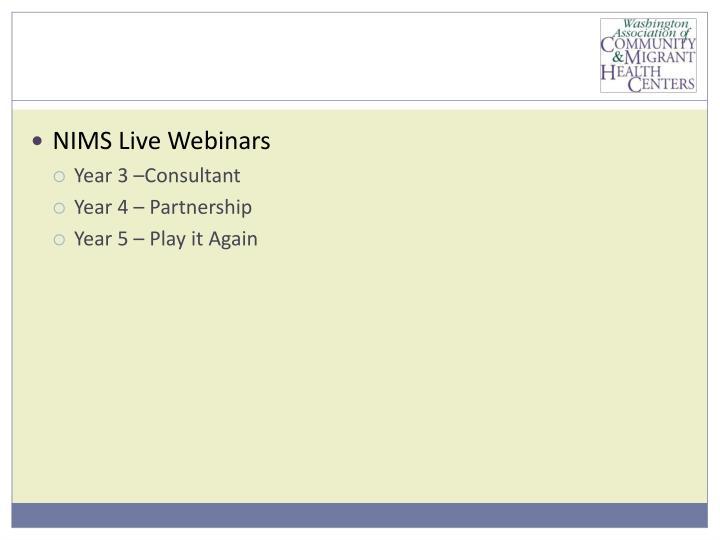 NIMS Live Webinars