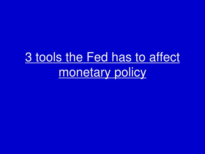 3 tools the Fed has to affect monetary policy