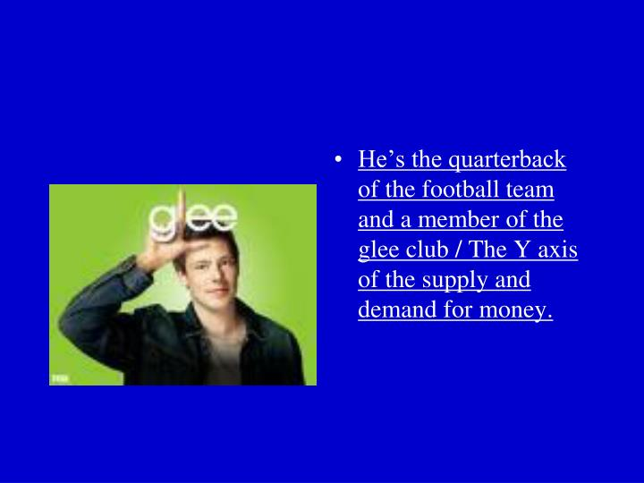He's the quarterback of the football team and a member of the glee club / The Y axis of the supply and demand for money.