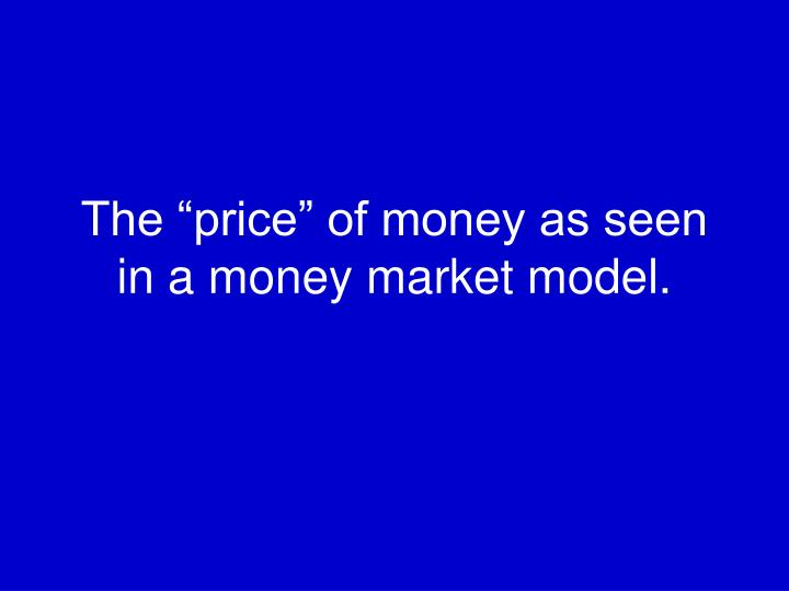 "The ""price"" of money as seen in a money market model."