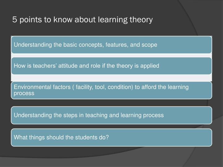 5 points to know about learning theory
