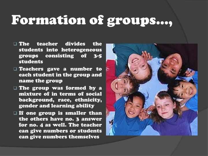 Formation of groups…,
