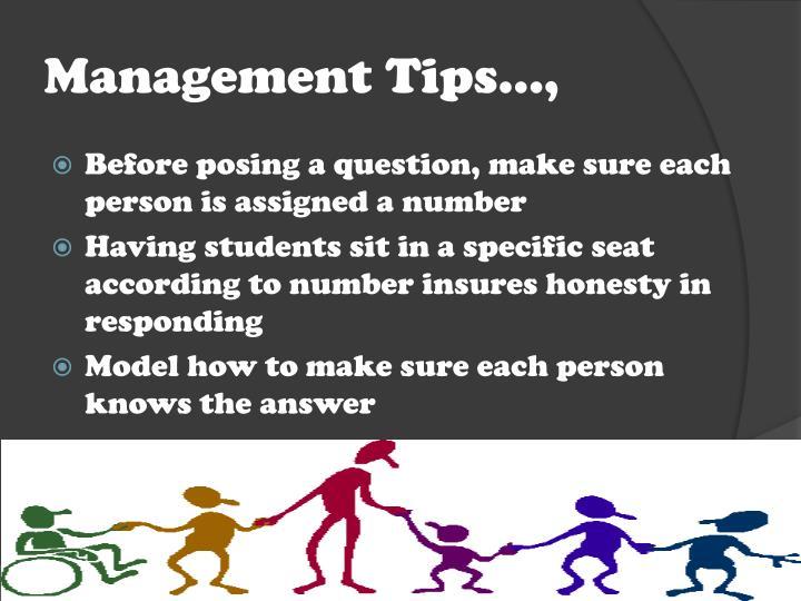 Management Tips…,