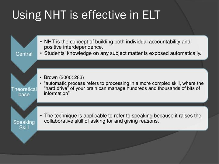 Using NHT is effective in ELT