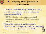 v ongoing management and maintenance