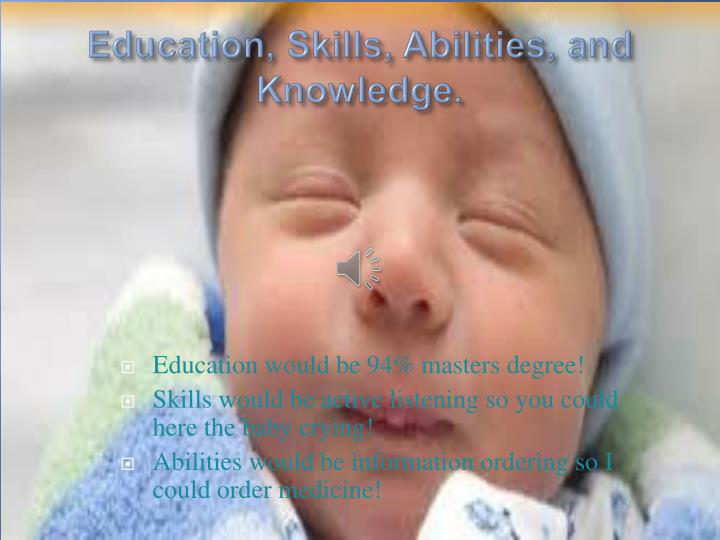 Education, Skills, Abilities, and Knowledge.