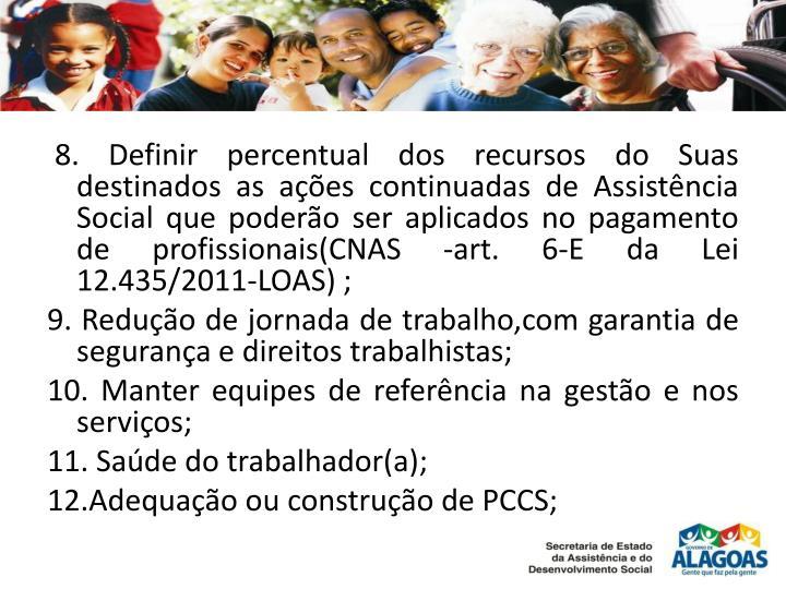 8. Definir percentual dos recursos do Suas destinados as ações continuadas de Assistência Social que poderão ser aplicados no pagamento de profissionais(CNAS -
