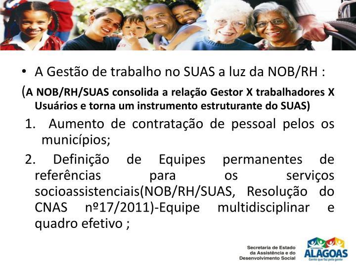 A Gestão de trabalho no SUAS a luz da NOB/RH :