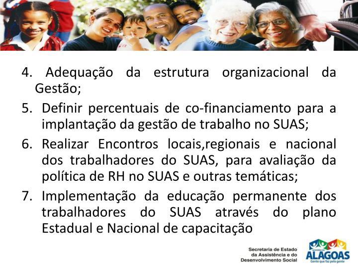 4. Adequação da estrutura organizacional da Gestão;