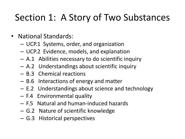 Section 1 a story of two substances
