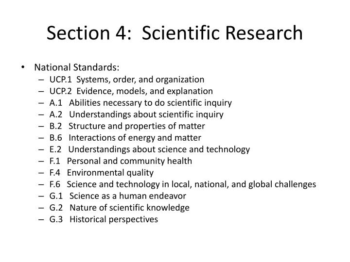 Section 4:  Scientific Research