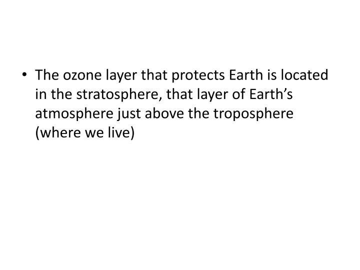The ozone layer that protects Earth is located in the stratosphere, that layer of Earth's atmosphere just above the troposphere (where we live)