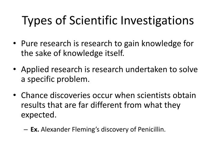 Types of Scientific Investigations