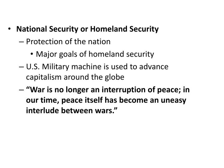 National Security or Homeland Security