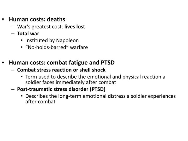 Human costs: deaths