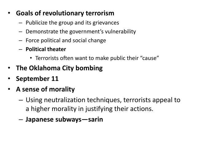 Goals of revolutionary terrorism