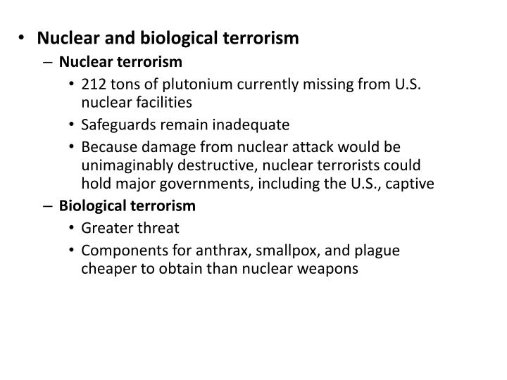 Nuclear and biological terrorism