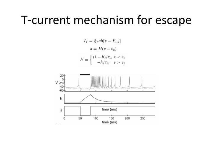 T-current mechanism for escape