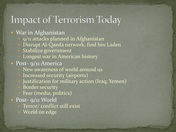 Impact of Terrorism Today