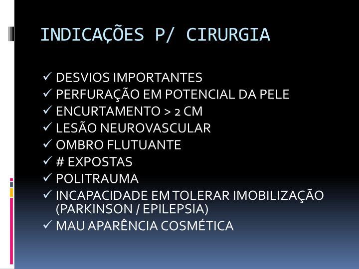 INDICAÇÕES P/ CIRURGIA